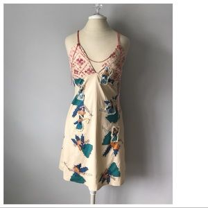 OTITUDE DRESS EMBROIDERED FAIRIES BEADS SLEEVELESS